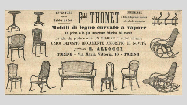 Pubblicità Thonet - negozio di Torino