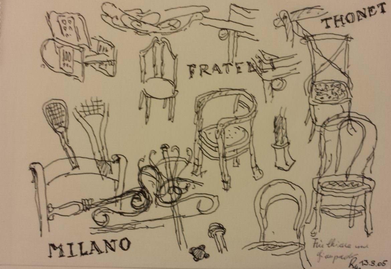 Disegno/schizzo di Karl mang per la Mostra thonet a Milano 2005