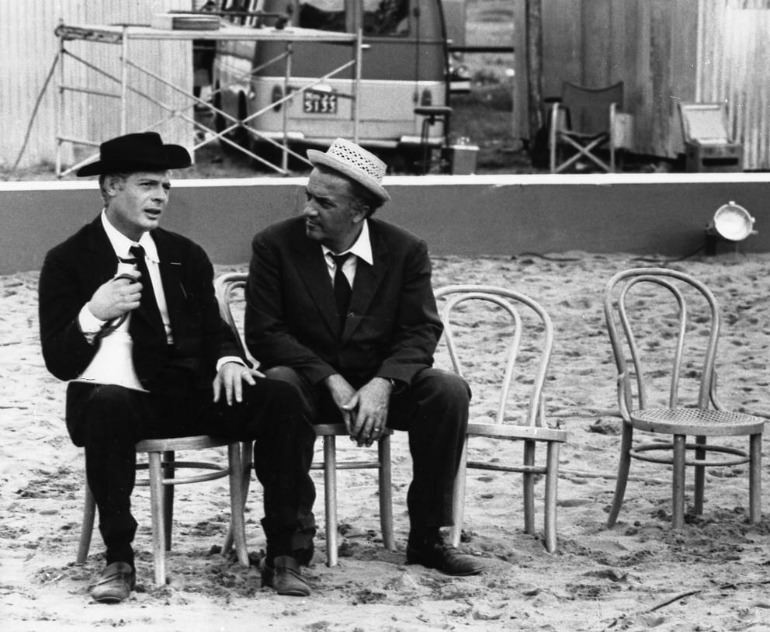 Fellini & Mastroianni movie set