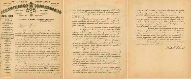 Lettera della Thonet
