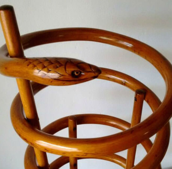 Legno testa serpente curvato design legno curvato for Sedia design originale